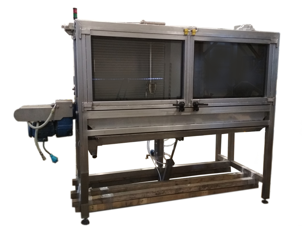 Blasting box for high pressure screw cleaning in the food industry
